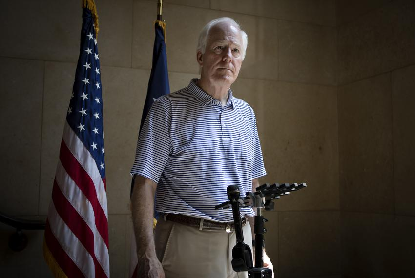 U.S. Sen. John Cornyn, R-Texas, speaks to the press at the University of Texas at Austin tower in Austin on June 14, 2019.