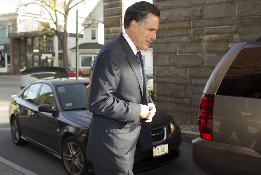 Mitt Romney arrives at a debate site in Hanover, N.H., on Oct. 11, 2011.