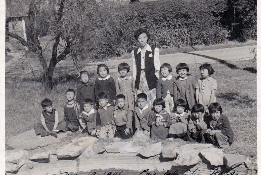 A nursery school photo shows a group of children who were imprisoned at an internment camp in Crystal City, Texas, in 1946.