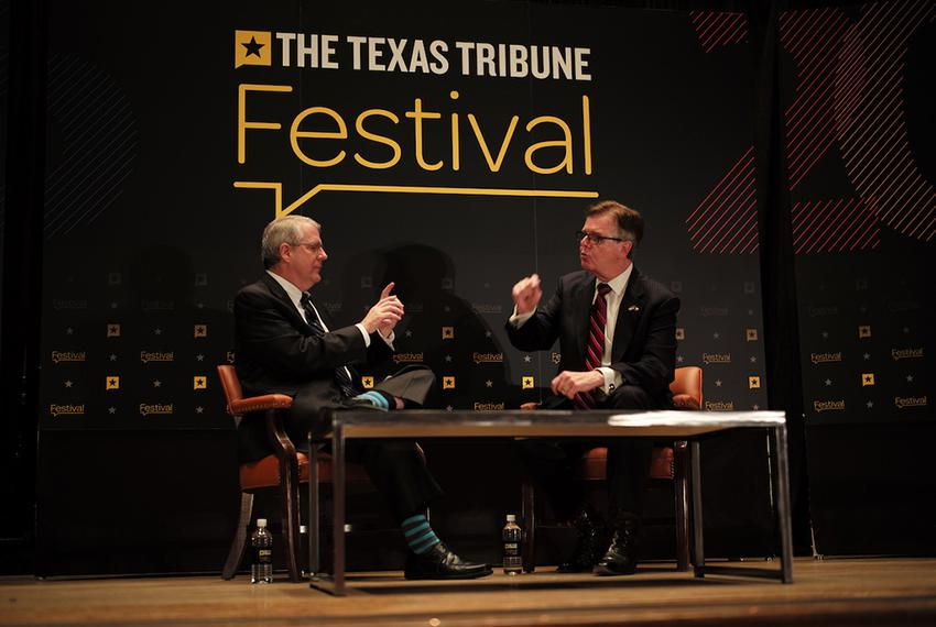Ross Ramsey, executive editor of The Texas Tribune, interviewed Lt. Gov. Dan Patrick at The Texas Tribune Festival on Sept...