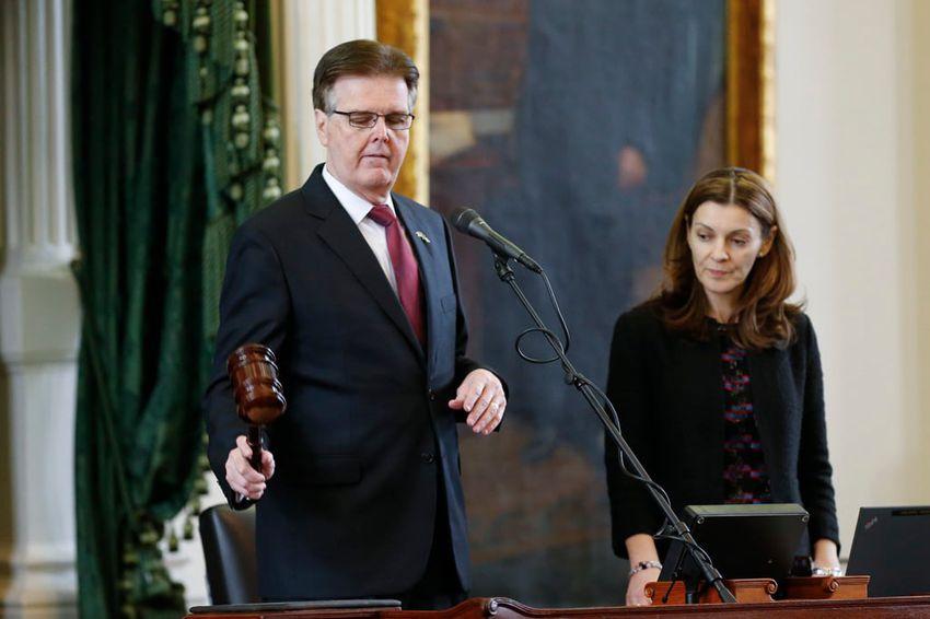 Parliamentarian Karina Davis watches as new Lt. Gov. Dan Patrick gavels in the Texas Senate on Jan. 21, 2015.