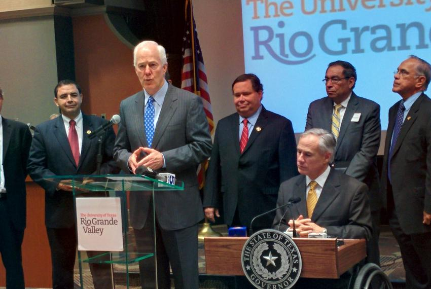 U.S. Sen. John Cornyn, along with members of the U.S. Congressional delegation and Gov. Greg Abbott, at the University of Te…
