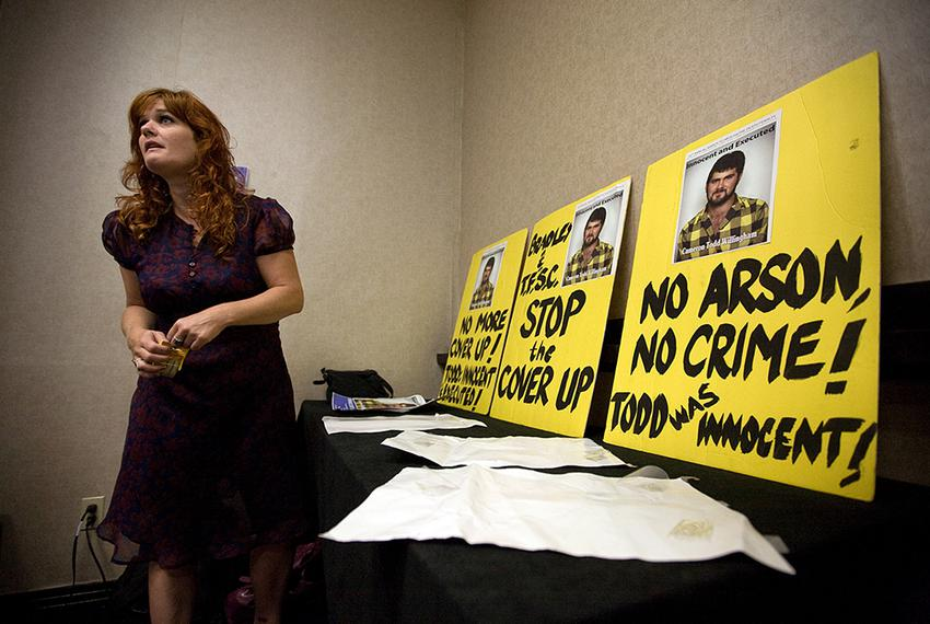 September 17, 2010 - Activist Jamie Bush attends the Texas Forensic Science Commission board meeting on September 17, 2010 i…