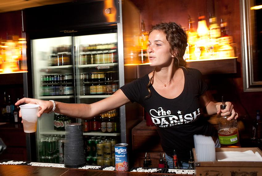 Lindsey Sunflower serves drinks at The Parish, a popular music venue in Austin, Texas. State Rep. Mark Strama is pursuing ...