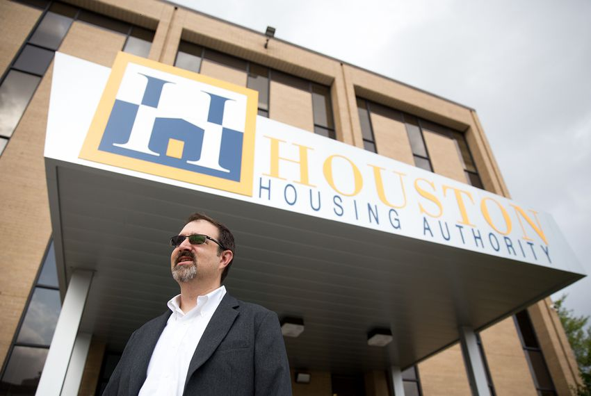 Houston Housing Authority President and CEO Tory Gunsolley outside his office on Mar. 27, 2018.