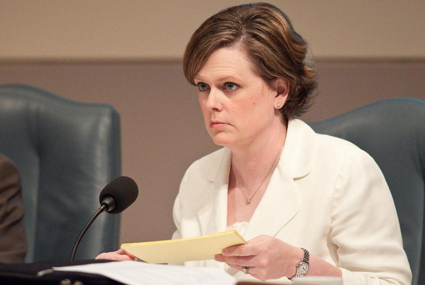 Deirdre Delisi, Chair of the Texas Transportation Commission, attends a meeting on July 29, 2010.