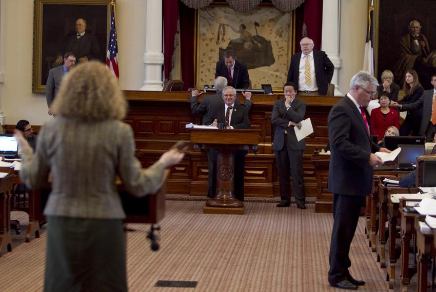Rep. Donna Howard D-Austin, questions Rep. Jimmie Don Aycock R-Killeen during HB5 debate on March 26th, 2013