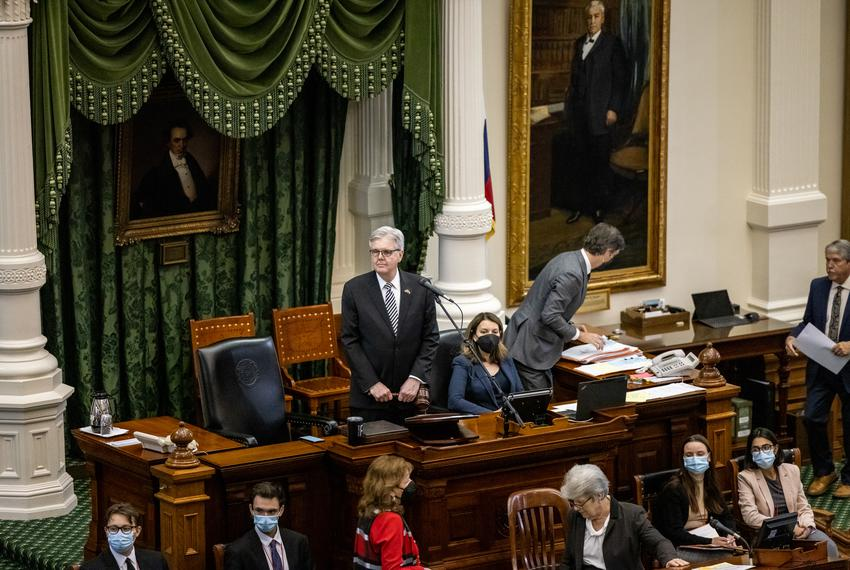 Lt. Gov. Dan Patrick presides over the Senate session on March 20, 2021.