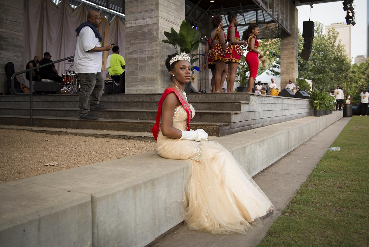 Brandi Holmes, Miss Juneteenth 2018, attends the Juneteenth Worship Experience in Houston on June 12, 2021.