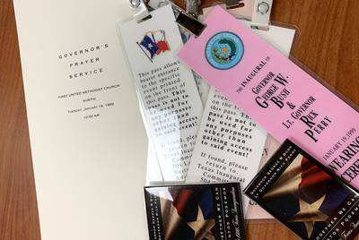 Programs, memorabilia and other documents from past inaugurals are stored at the Texas State Library and Archives Commission.
