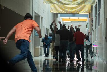 Educators take part in active shooter training in Pflugerville on August 10, 2018.