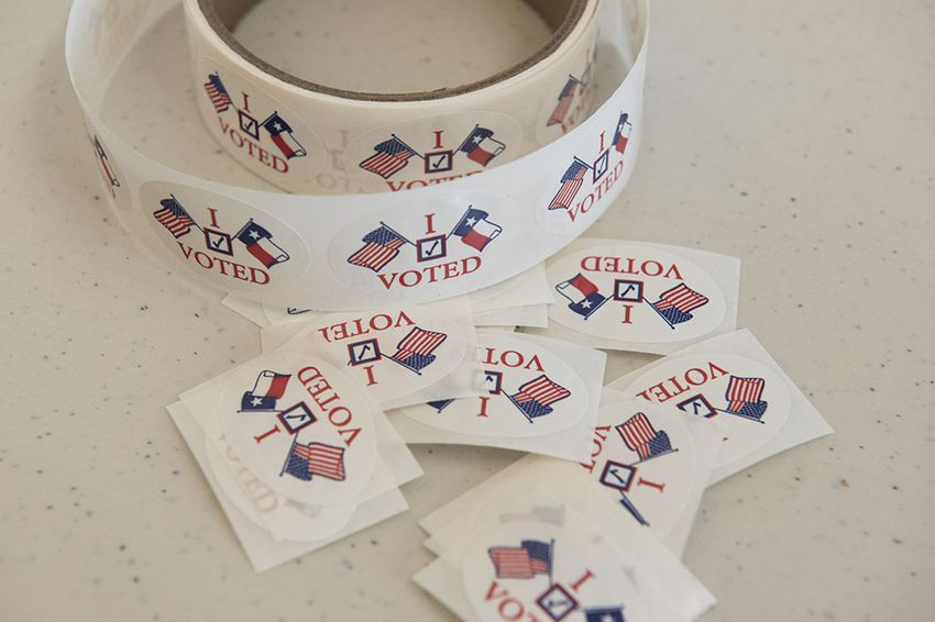 "The popular ""I Voted"" stickers at a South Texas early voting location on Oct. 26, 2016."