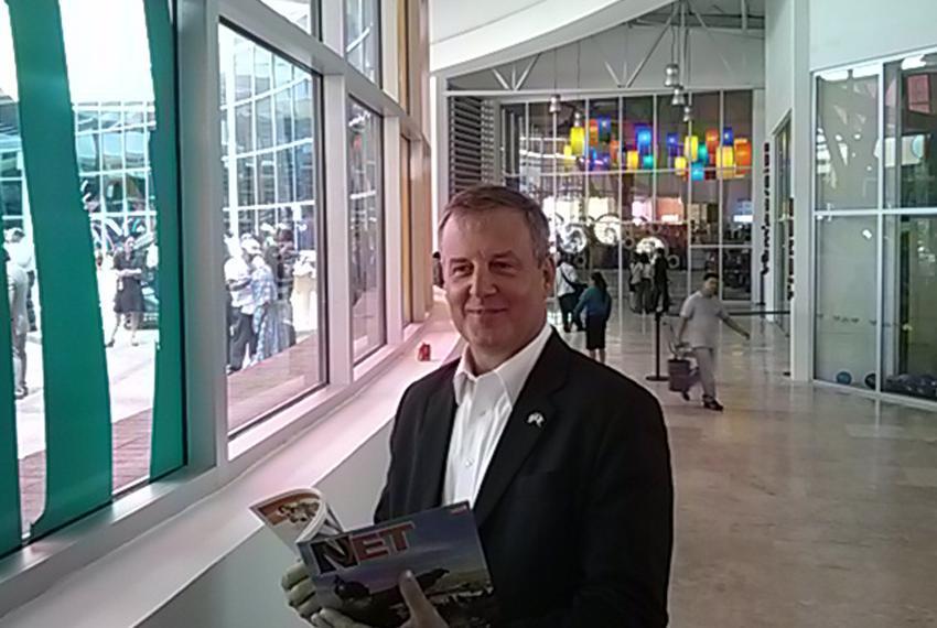 U.S. Consul General in Ciudad Juárez, Ian Brownlee, at the ribbon-cutting ceremony for La Rodadora: Espacio Interactivo muse…