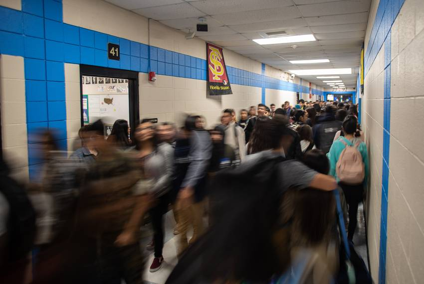 Passing period at United South High School in Laredo.