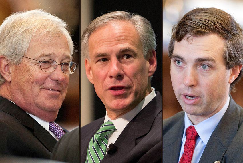State Rep. Charlie Geren, R-Fort Worth; Gov. Greg Abbott; and state Sen. Van Taylor, R-Plano.