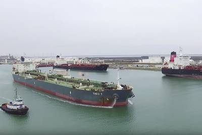 The Theo T is shown exiting the Port of Corpus Christi, which is looking at two sites for a proposed seawater desalination plant. Corpus Christi's economic activity is one reason proponents of seawater desalination believe a plant will be built soon.