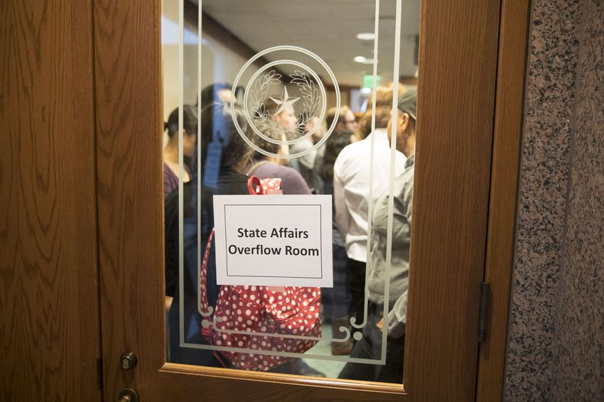 Witnesses signed up for the Senate State Affairs hearing on SB 6 pack the Extension hearing overflow rooms prior to testimony on March 7, 2017.
