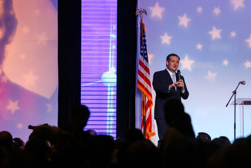 Republican presidential candidate Ted Cruz speaks in Houston at the Bayou Civic Center during the Harris County Republican Party's 2016 Lincoln-Reagan Dinner on Feb. 24, 2016.