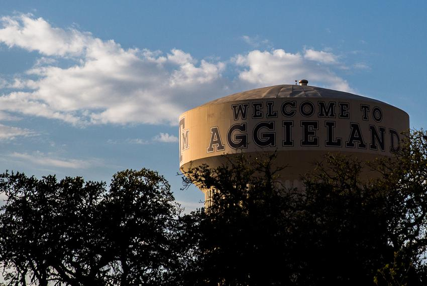 The Aggieland water tower in College Station on March 26, 2018.