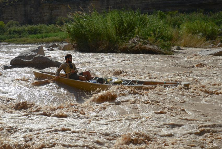 Colin takes the canoe, minus all electronics, through the upper portion of Upper Madison Falls.