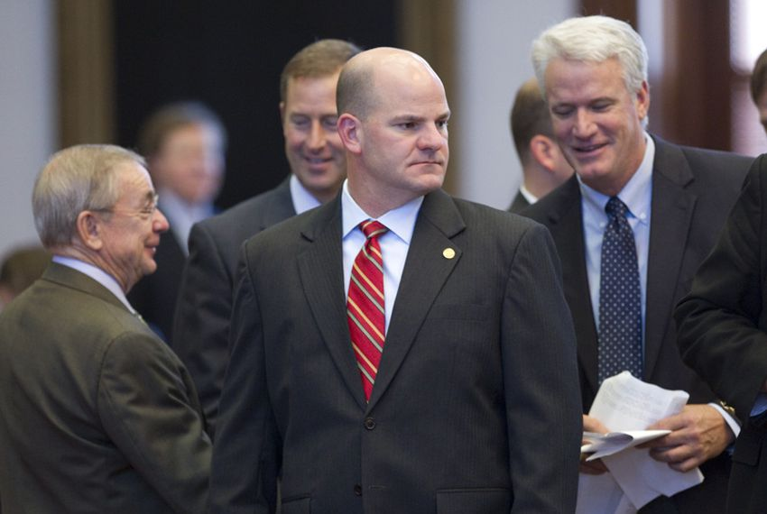 State Rep. John Kuempel (center), R-Seguin, pauses during debate on the local and consent calendar on May 13, 2011.