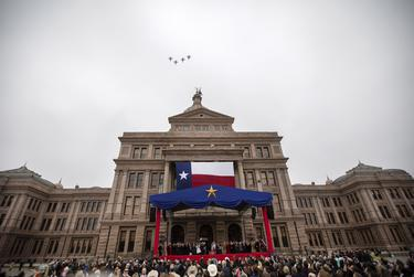 Air Force fighter planes fly over the state capitol during the Oath of Office Ceremony. Lt. Governor Dan Patrick and Governor Greg Abbott were sworn into their respective offices on Jan. 15, 2019.