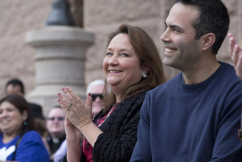 First Lady Cecilia Abbott with Texas Land Commissioner George P. Bush at a Texas Alliance for Life rally on Jan. 24, 2015, a…