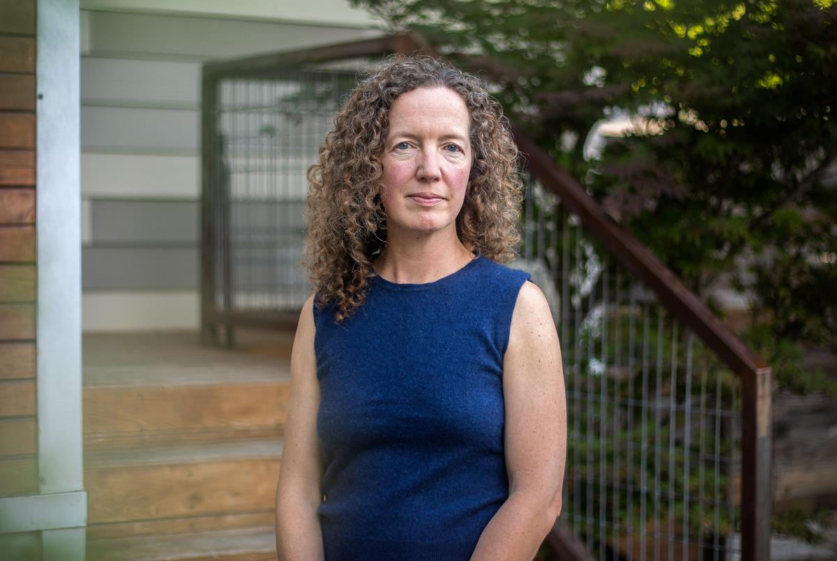 Brook Wagen in front of her home in Austin on May 15, 2021.