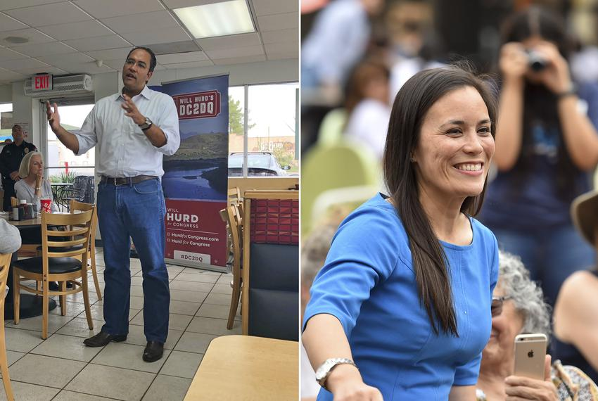 Left: U.S. Rep. Will Hurd, R-Helotes, speaks at a town hall in Alpine on Sept. 16, 2018. He stopped in the city as part of...