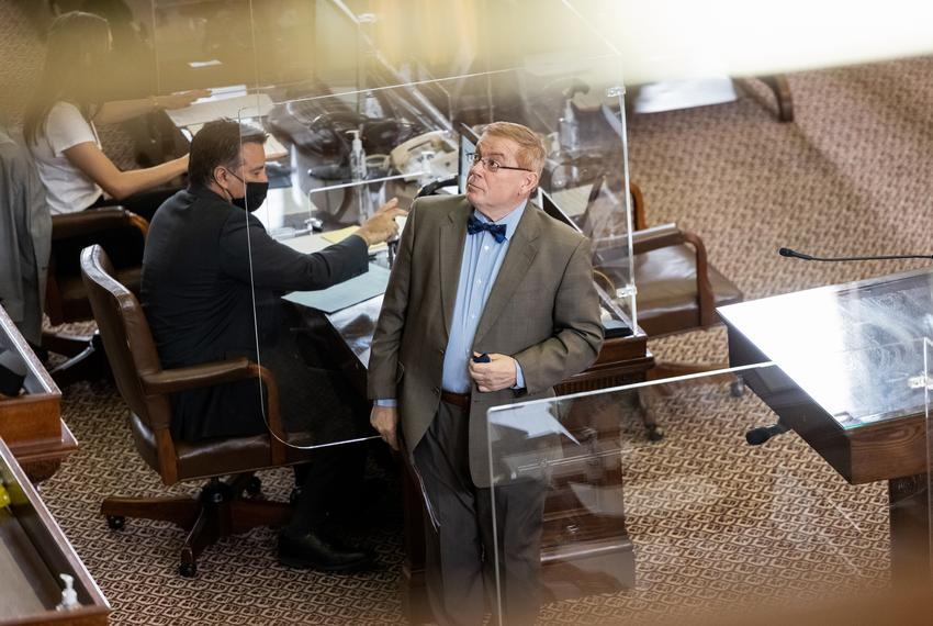 State Rep. Leo Pacheco, D-San Antonio, gives a surprising look to Speaker Phelan during the hour session on April 22, 2021.