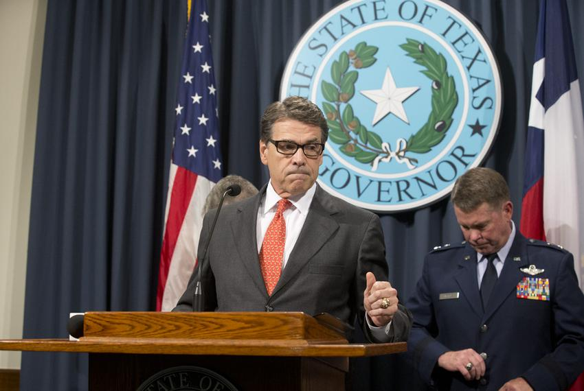 Criticizing a lack of federal response on border issues, Governor Rick Perry announces deployment of up to 1,000 National Gu…