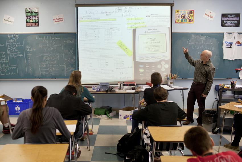 Hank Warner teaches a pre-advanced placement algebra course for ninth-graders at Bowie High School in Austin.