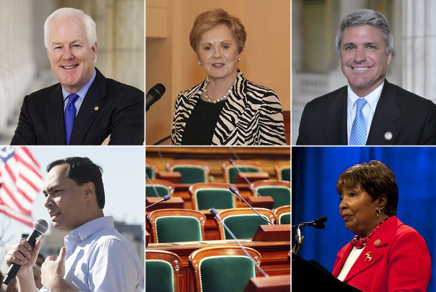 Top row, left to right: U.S. Sen. John Cornyn, U.S. Reps. Kay Granger, R-Fort Worth, and Michael McCaul, R-Tomball. Bottom row: U.S. Reps. Joaquin Castro, D-San Antonio and Eddie Bernice Johnson, D- Dallas.
