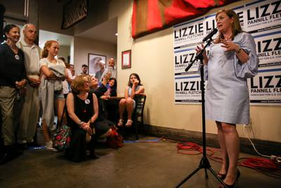 Lizzie Pannill Fletcher at her election night party in 2018. She is a top target for Republicans in 2020.