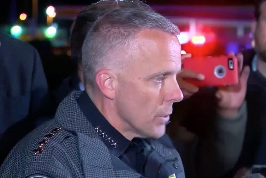 Austin Police Chief Brian Manley talks to reporters after the suspect in a series of Austin-area bombings detonated a bomb i…