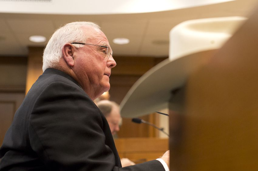 Texas Agriculture Commissioner Sid Miller during a Senate Committee on Agriculture, Water & Rural Affairs hearing on Dec. 8, 2015.