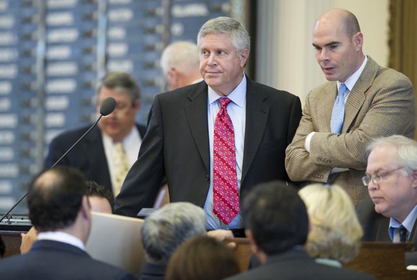 Sponsor of HB12 State Rep. Burt Solomons (l), R-Carrollton, and Rep. Dennis Bonnen, R-Angleton, listen to a point of order c…