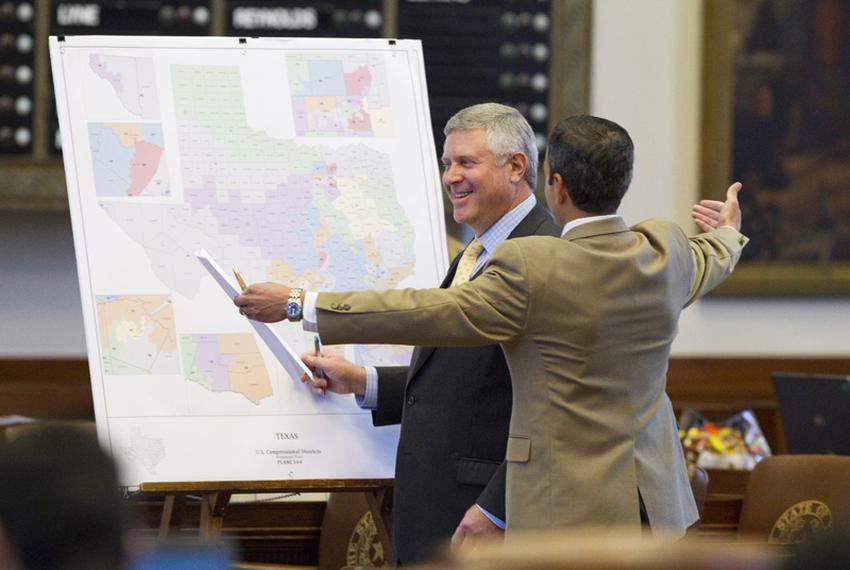 State Rep. Burt Solomons, R-Carrollton, left, and Rep. Mike Villarreal, D-San Antonio, debating congressional redistricting …