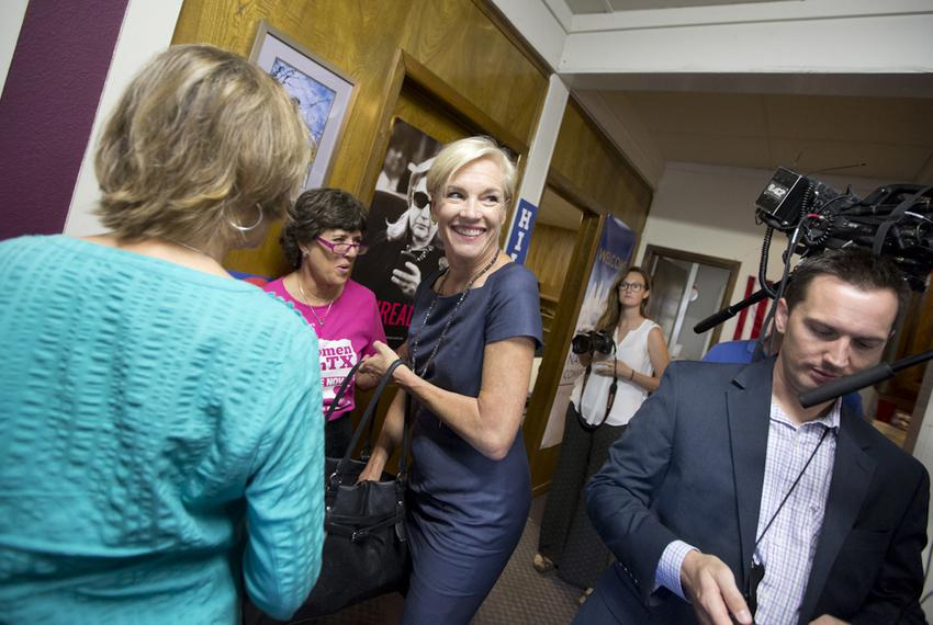 Planned Parenthood Federation of America President Cecile Richards arrives at a Hillary Clinton campaign office in Austin ...