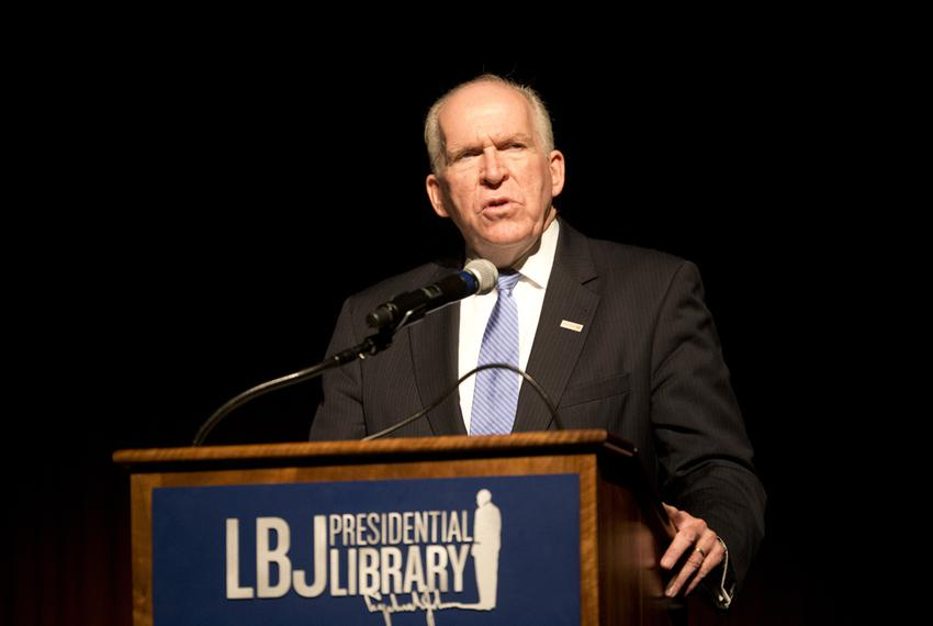 CIA Director John O. Brennan speaks at the LBJ Library as the agency releases to the public Sept. 16, 2015 classified copies…