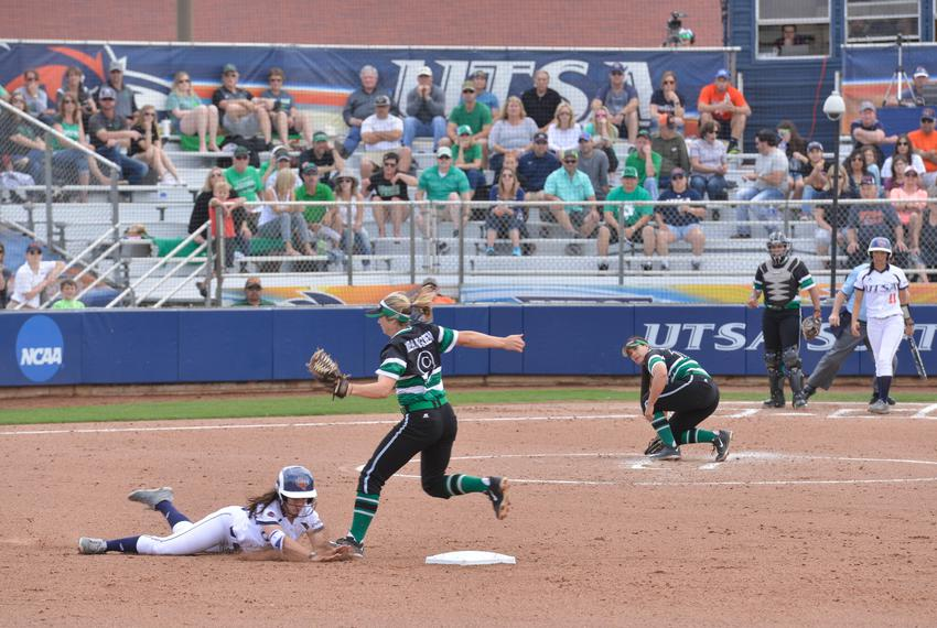 Bailee Baldwin of the University of Texas at San Antonio's softball team slid into second base as Kelli Schkade of the Uni...