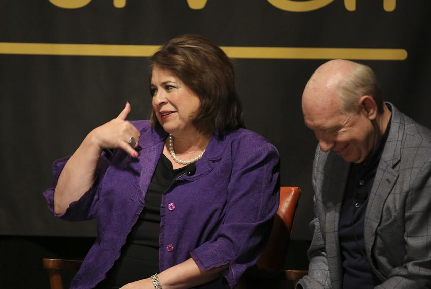 Texas Sen. Leticia Van de Putte, D-San Antonio, gestures during a dicsussion of her future plans at TribFest closing session…