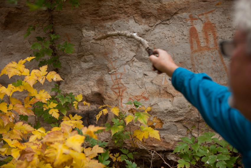 Meyer points out pictographs made by American Indians who used to inhabit the area.