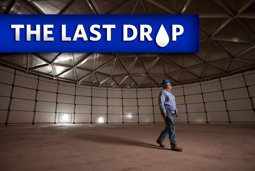 Robert Hildreth, the plant operator of the Colorado River Municipal Water District's Raw Water Production Facility in Big Spring, Texas, inspects the geodesic dome roof of the site's million-gallon source water tank. The tank will stockpile water from the nearby waste water treatment plant before entering the production facility.