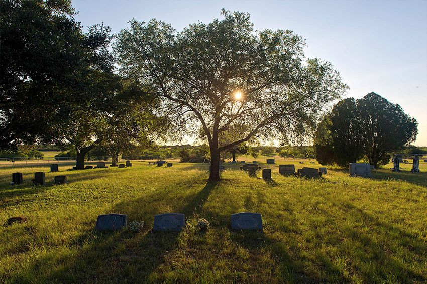The San Domingo Cemetery in Normanna, Texas. Donna Barrera claims she was told that  her deceased husband Pedro could not be buried in the cemetery because of his Hispanic ethnicity.