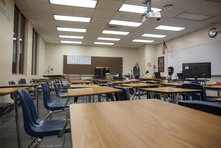 U.S. History teacher Cris Hernandez teaches a class remotely in an empty classroom at Westfield High School on Sept 15, 2020.