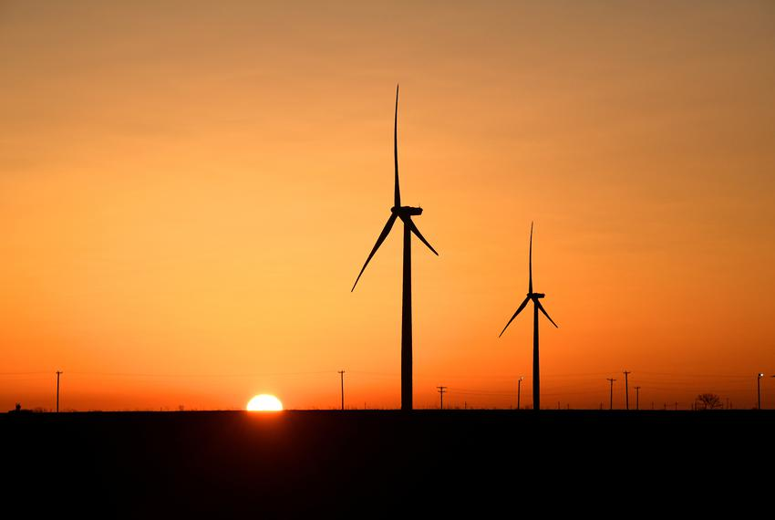 Wind turbines operated at sunrise in the Permian Basin, an area of oil and natural gas production, in Big Spring in 2019.