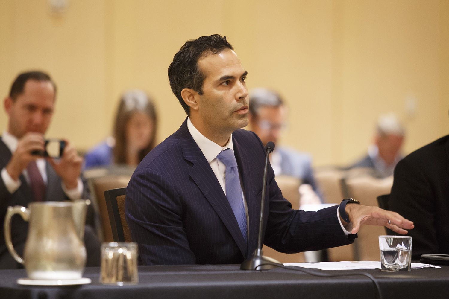 Texas Land Commissioner George P. Bush speaks to the Texas House of Representatives Committee on Urban Affairs hearing on Harvey in Houston on Monday, October 2, 2017.