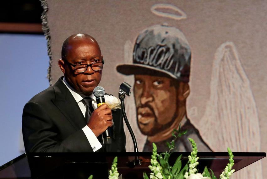 Houston Mayor Sylvester Turner speaks during the funeral for George Floyd at the Fountain of Praise church in Houston on T...