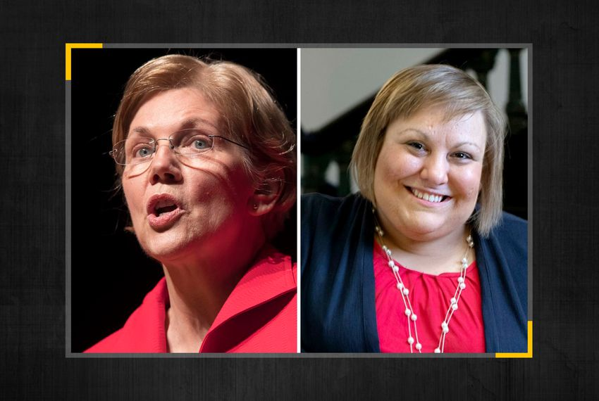 From left: Presidential candidate Elizabeth Warren and Eliz Markowitz, Democratic candidate for Texas House District 28.
